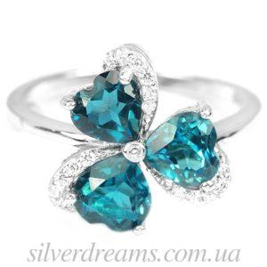 Серебряное кольцо с лондон топазами
