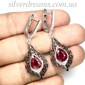 Серьги с рубином в серебре с родием