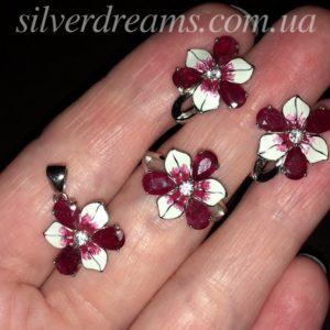 Серебряный комплект с рубинами и эмалью