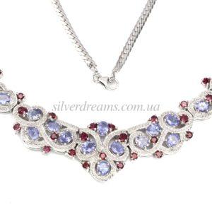 Серебряное ожерелье Танзанит-Родолит