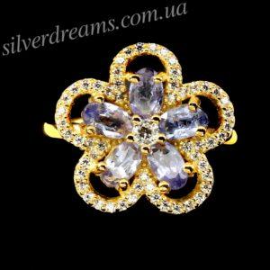 Танзанитовое кольцо в серебре с позолотой