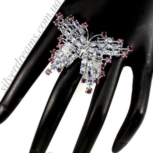 Серебряное кольцо Бабочка с танзанитами и родолитами