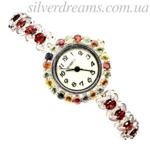 Гранатовый браслет-часы в серебре
