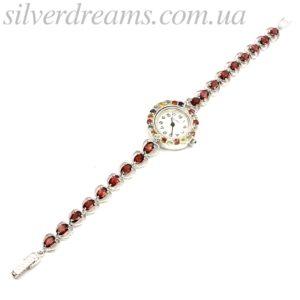 Серебряные часы-браслет с гранатами