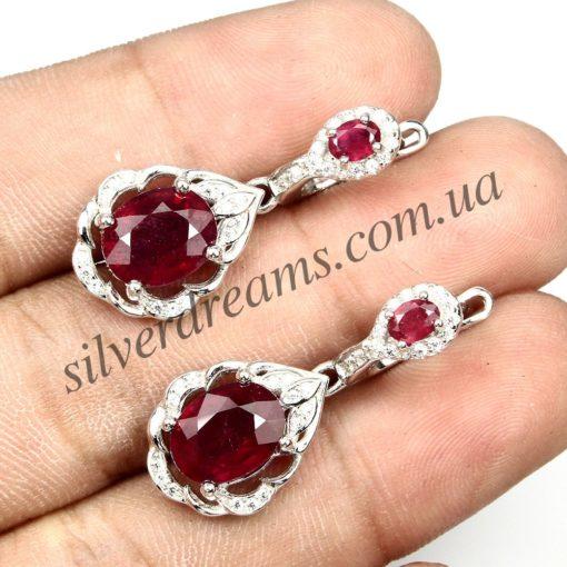 Серебряные серьги с мадагаскарским рубином