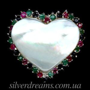 Серебряное кольцо Перламутр & Изумруд-Рубин-Сапфир