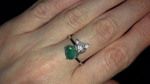 Кольцо с изумрудом в серебре
