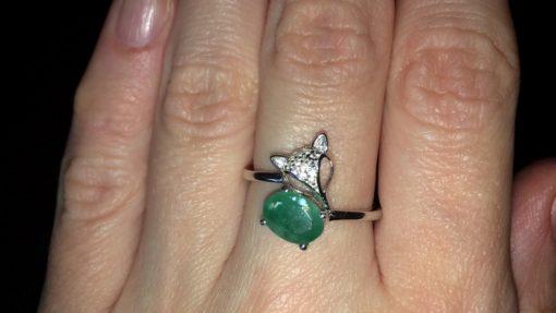 Серебряное кольцо Лиса с изумрудом