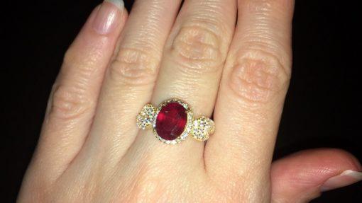 Кольцо с рубином в серебре с позолотой