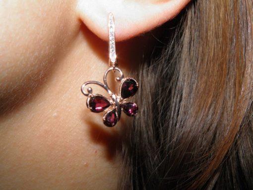 Серьги-бабочки с рубеллитами в серебре с позолотой
