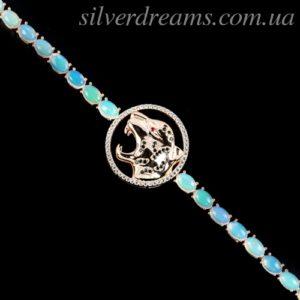 Опаловый браслет в серебре с позолотой