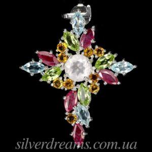 Серебряный кулон Крестик с природными камнями