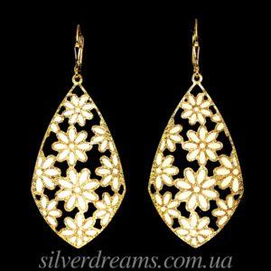 Длинные серебряные серьги с эмалью в лимонном золоте
