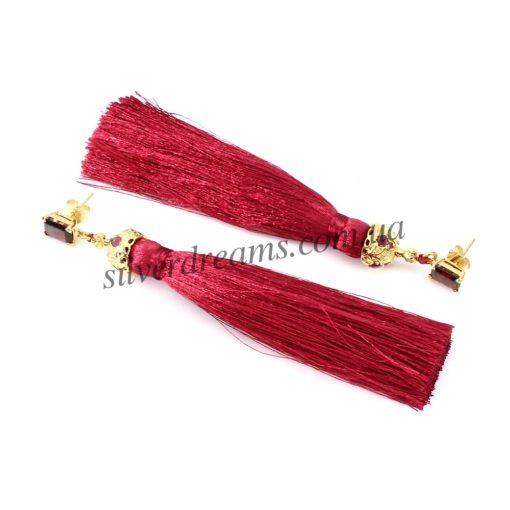 Серьги-кисточки из японского шёлка Красные