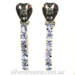 Серебряные серьги-змеи с танзанитами и шпинелью