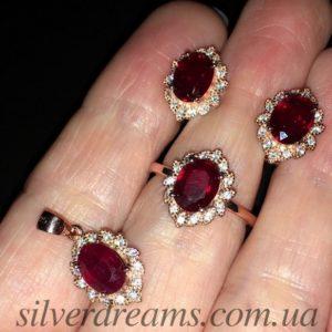 Рубиновый комплект в серебре с позолотой