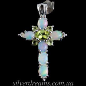 Серебряный кулон Крестик с опалами