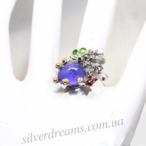 Серебряное кольцо Танзанит-Изумруд-Родолит