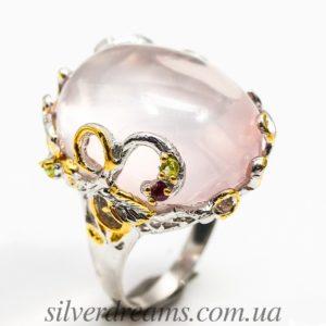 Дизайнерское кольцо с крупным розовым кварцем в серебре