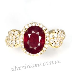 Кольцо с мадагаскарским рубином
