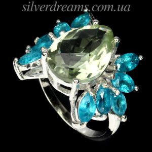 Серебряное кольцо Празиолит & Апатит