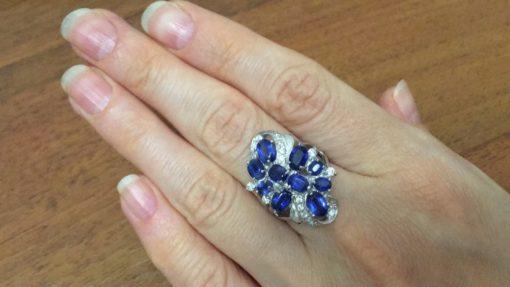 Кольцо из серебра с кианитами