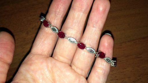 Браслет с мадагаскарским рубином в серебре