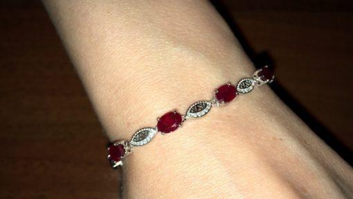 Рубиновый браслет в серебре