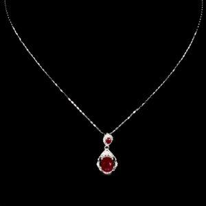 Рубиновый кулон-ожерелье в серебре