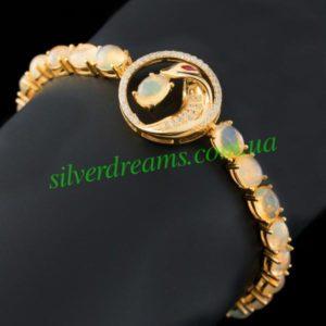 Серебряный браслет Змея с огненными опалами