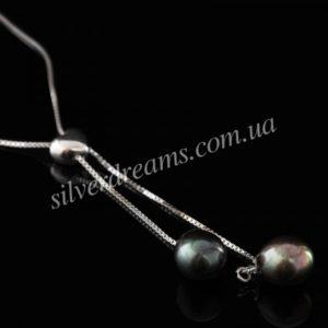 Серебряное колье с чёрным жемчугом