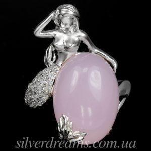 Серебряное кольцо Русалка с халцедоном