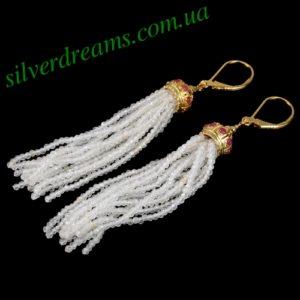 Длинные серебряные серьги с рубинами и кристаллами Сваровски