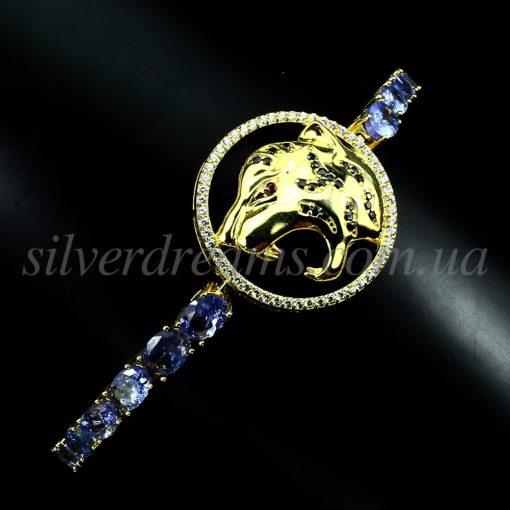 Серебряный браслет с крупными танзанитами