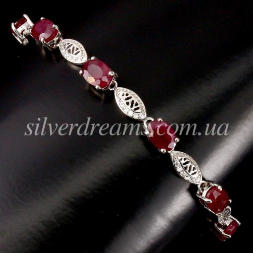 Серебряный браслет с мадагаскарским рубианом