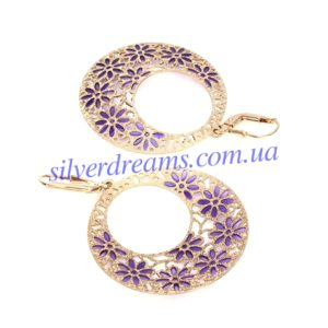 Серебряные серьги-шандельеры с позолотой и эмалью