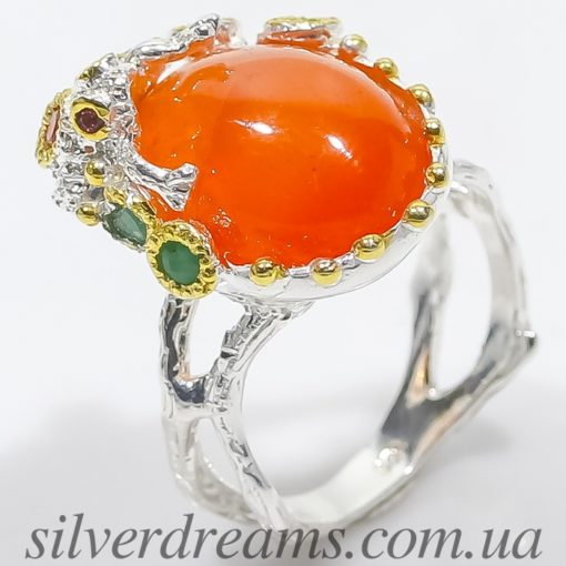 Серебряное кольцо Сердолик & Изумруд