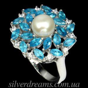 Серебряное кольцо Жемчуг & Апатит