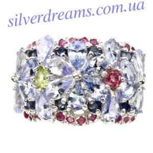 Серебряное кольцо Танзанит-Турмалин-Сапфир-Рубин