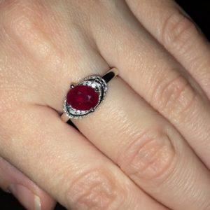 Серебряное кольцо с мадагаскарским рубиином