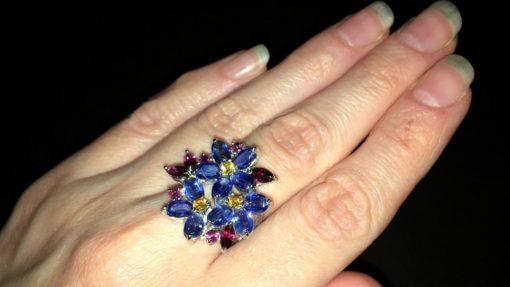 Серебряное кольцо с кианитами