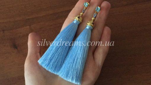 Голубые серьги-кисточки из японского шёлка в серебре с позолотой