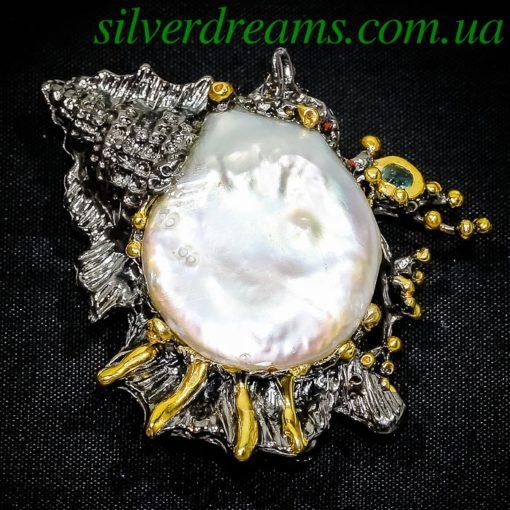 Серебряная брошь Ракушка с крупным барочным жемчугом