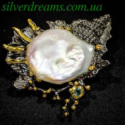 Серебряная брошь с барочным жемчугом