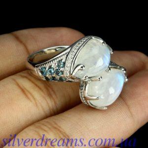 Серебряное кольцо Лунный камень & Лондон-топаз