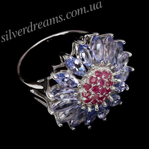 Серебряное кольцо Цветок с танзанитами и рубинами