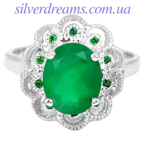 Кольцо с зелёным агатом в серебре