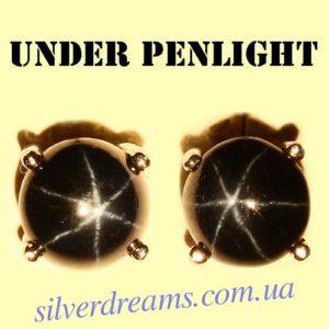 Серьги-пусеты со звёздчатым сапфиром в серебре