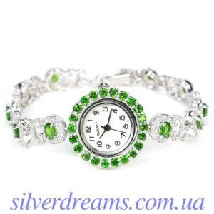 Серебряные часы-браслет с диопсидами