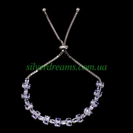 Танзанитовый браслет в серебре